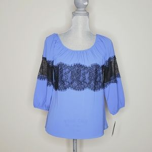 Women's BCX Periwinkle and Lace Blouse. NWT